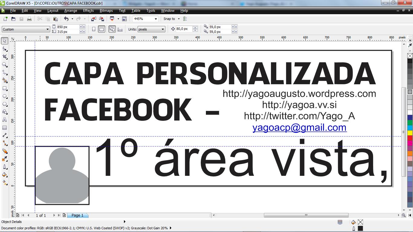 do esqueleto em .cdr para criar capas personalizadas para o facebook